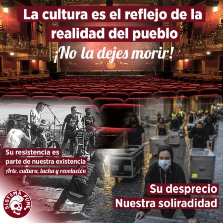 Cartel en apoyo a la cultura en la situación de covid